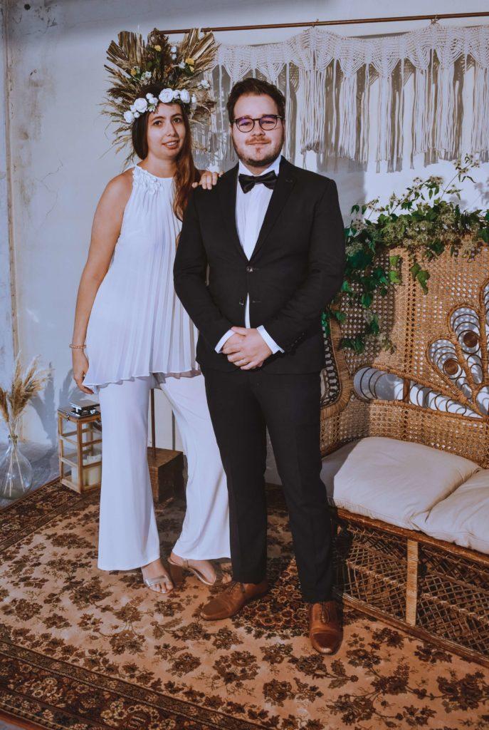 mariée en pantalon pour mariage en Bourgogne
